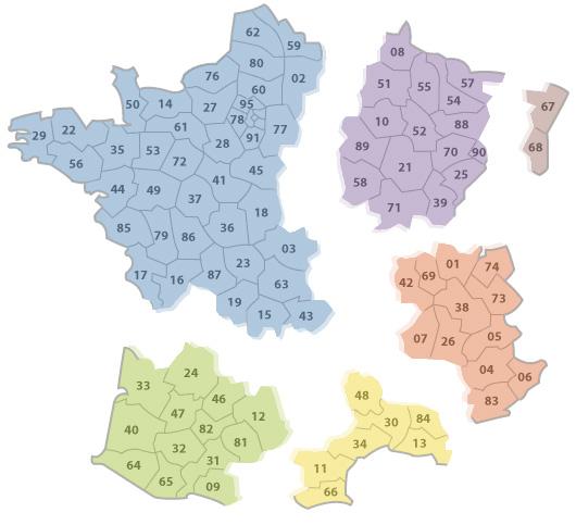 Carte de France plaquettes forestières
